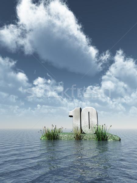Foto stock: Dez · número · oceano · ilustração · 3d · natureza · mar