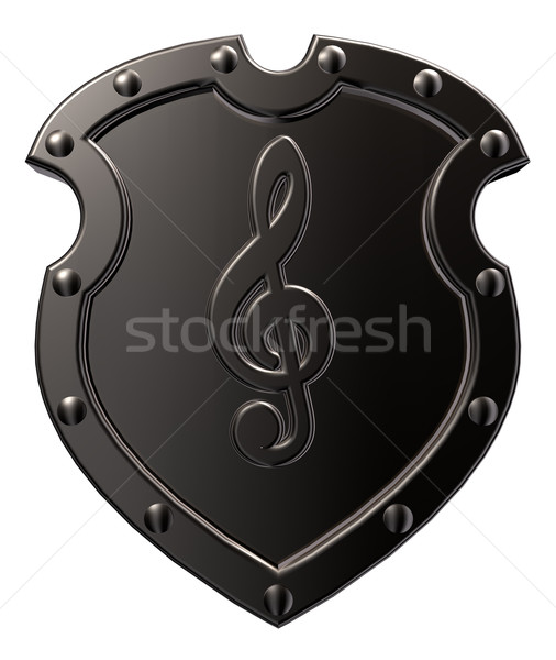 clef on metal shield Stock photo © drizzd