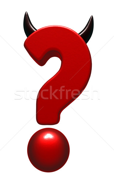 Gonosz kérdőjel agancs fehér 3d illusztráció acél Stock fotó © drizzd