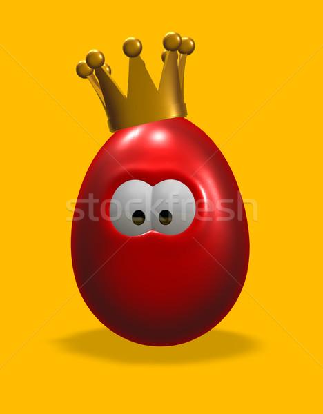 Rei ovo desenho animado ovo de páscoa coroa ilustração 3d Foto stock © drizzd