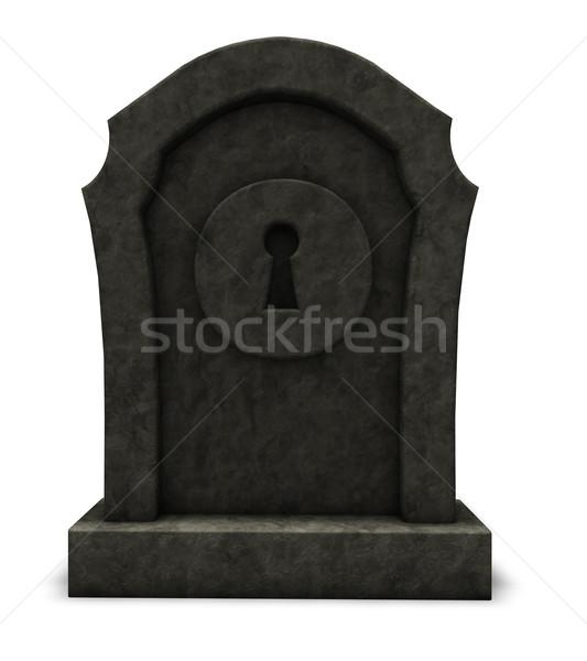 Serrure pierre tombale 3d illustration sécurité mort lock Photo stock © drizzd