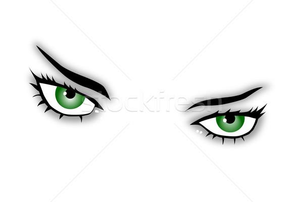 Zielone oczy piękna twarz oglądać Zdjęcia stock © drizzd