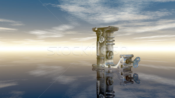 Machine letter l bewolkt hemel 3d illustration wolken Stockfoto © drizzd