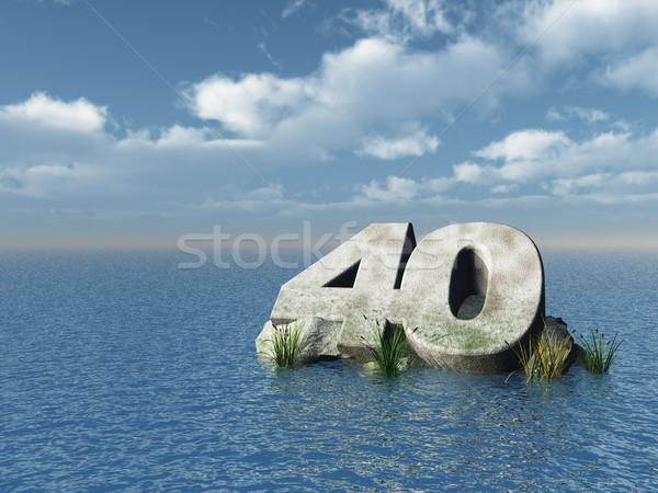 Czterdzieści numer ocean 3d ilustracji charakter morza Zdjęcia stock © drizzd