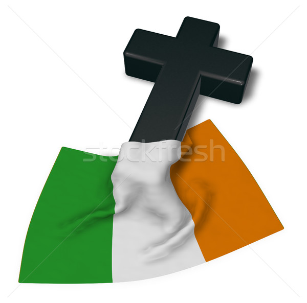 christian cross and flag of ireland - 3d rendering Stock photo © drizzd