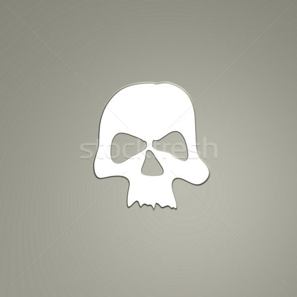 Schedel vorm grijs laag 3d illustration dode Stockfoto © drizzd