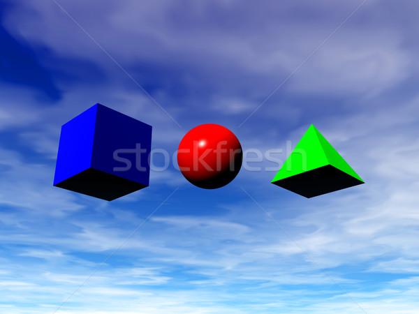 幾何学的な 基本 広場 ピラミッド ボール 3次元の図 ストックフォト © drizzd