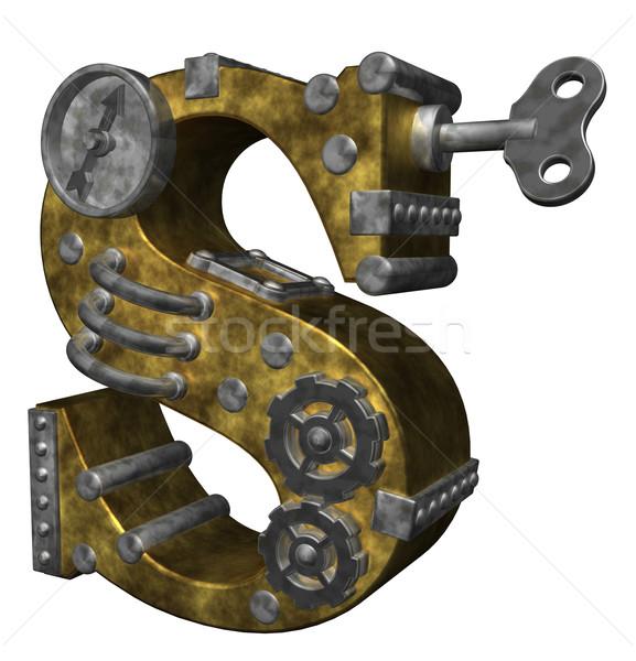 Steampunk levél fehér 3d illusztráció óra művészet Stock fotó © drizzd