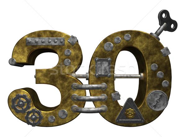 Aantal dertig steampunk witte 3d illustration financieren Stockfoto © drizzd