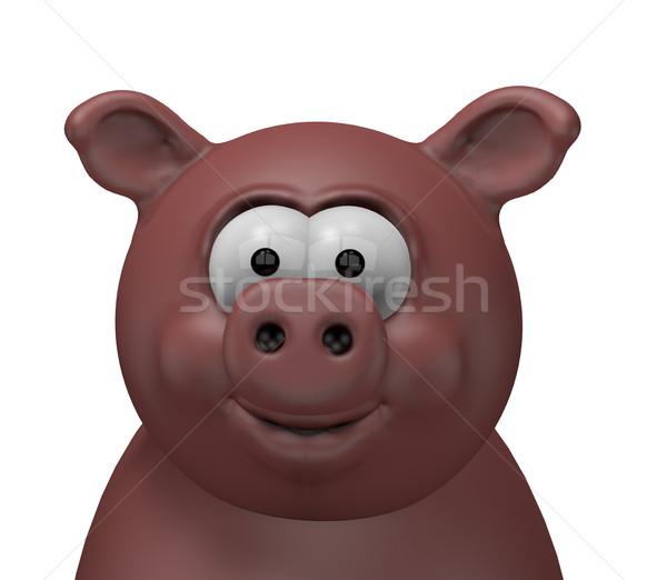 Sertés boldog fej 3D rajz illusztráció Stock fotó © drizzd