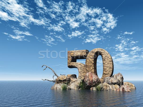 каменные пятьдесят числа 50 океана 3d иллюстрации Сток-фото © drizzd
