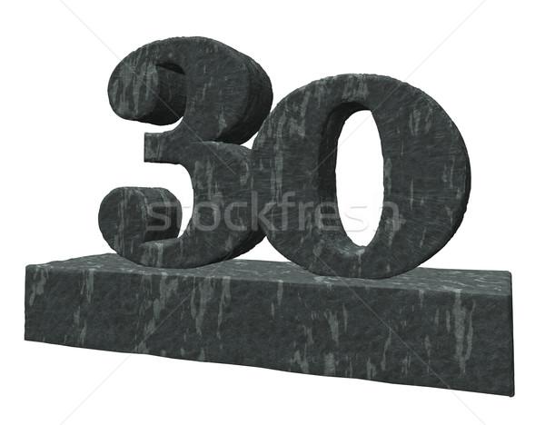 каменные числа тридцать 3d иллюстрации рождения рок Сток-фото © drizzd