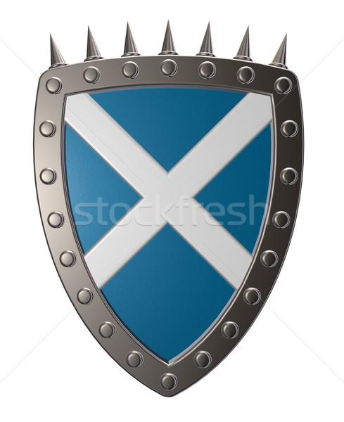 Schotland kleuren metaal schild 3d illustration Blauw Stockfoto © drizzd