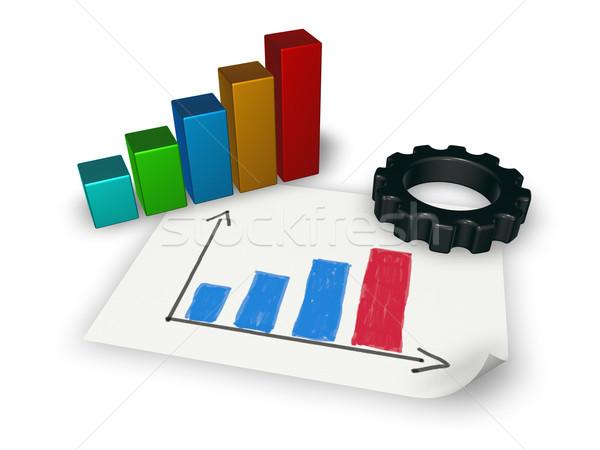 Grafico di affari attrezzi ruota bianco illustrazione 3d business Foto d'archivio © drizzd