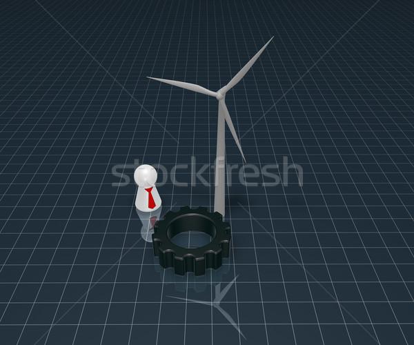 Чистая энергия технологий ветровой турбины играть Рисунок Сток-фото © drizzd