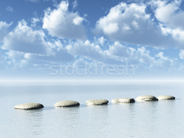 Photo stock: Chemin · rangée · pierres · eau · 3d · illustration · nuages