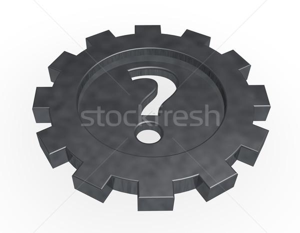 Dişli tekerlek soru işareti beyaz 3d illustration çalışmak Stok fotoğraf © drizzd