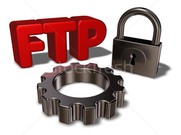 Ftp etiqueta candado 3d Internet Foto stock © drizzd