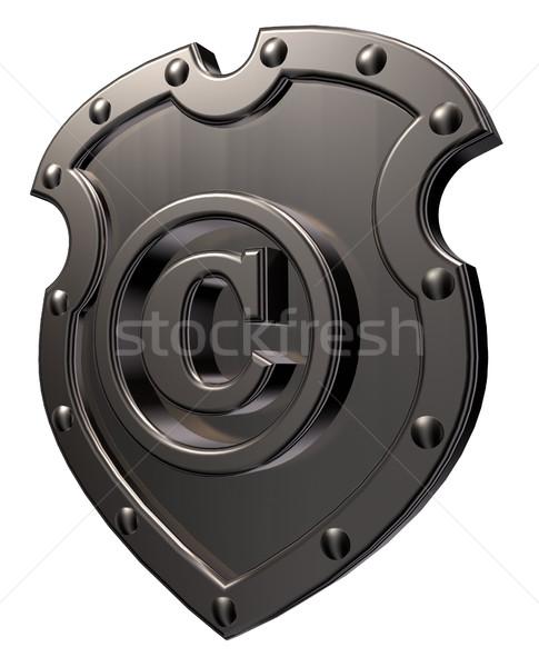 Szerzői jog szimbólum fém pajzs fehér 3d illusztráció Stock fotó © drizzd