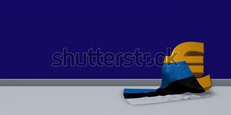 Foto stock: Euros · símbolo · bandera · 3d · signo · financiar