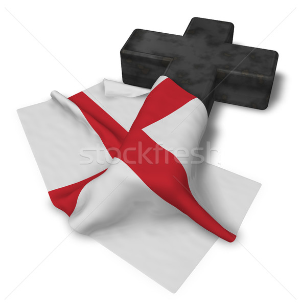 christian cross and flag of england - 3d rendering Stock photo © drizzd