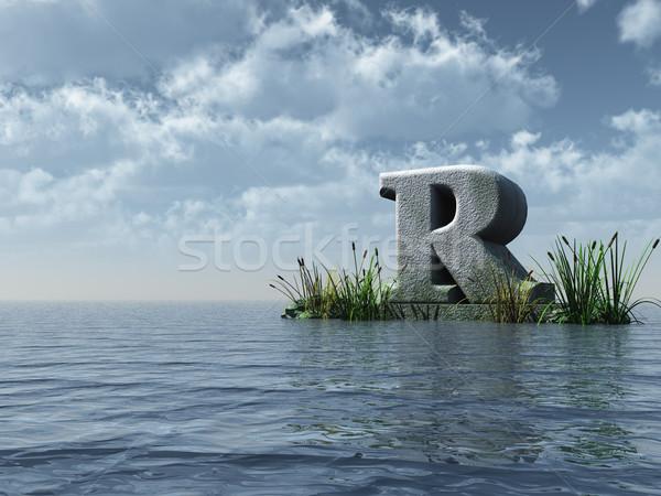 R betű víz tájkép 3d illusztráció felhők természet Stock fotó © drizzd