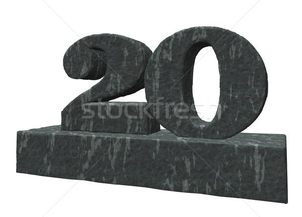 Foto stock: Número · vinte · ilustração · 3d · aniversário · rocha · pedra