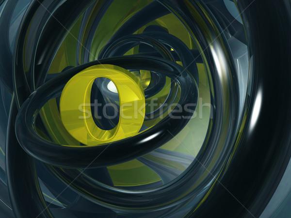 O betű futurisztikus űr 3d illusztráció levél arany Stock fotó © drizzd