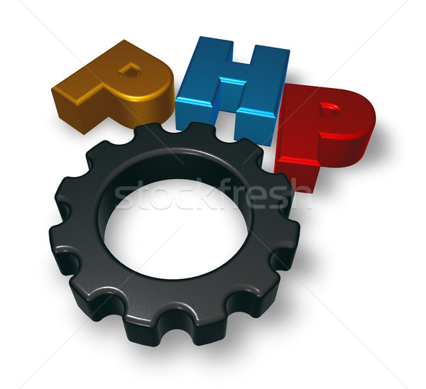 php tag and cogwheel Stock photo © drizzd