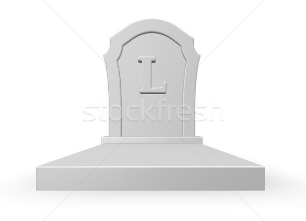 Dode grafsteen letter l witte 3d illustration dood Stockfoto © drizzd