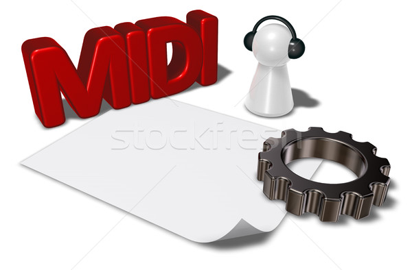 midi tag, gear wheel and pawn with headphones - 3d rendering Stock photo © drizzd