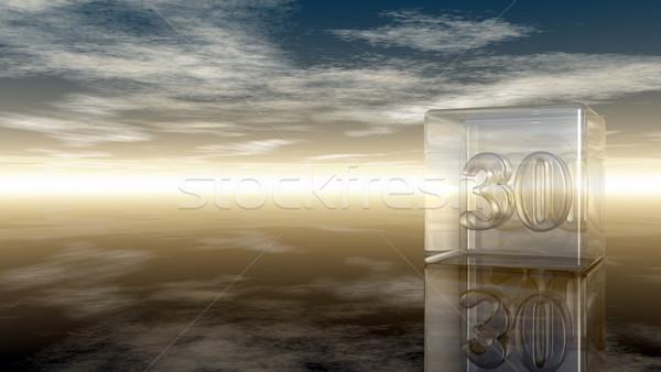Aantal dertig glas kubus bewolkt hemel Stockfoto © drizzd