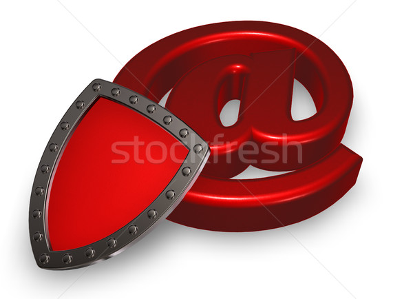 shield and emailsymbol - 3d illustration Stock photo © drizzd