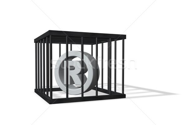 Kayıtlı marka simge kafes beyaz 3d illustration Stok fotoğraf © drizzd