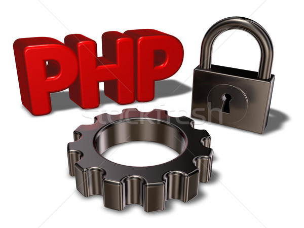 php tag, padlock and cogwheel - 3d illustration Stock photo © drizzd