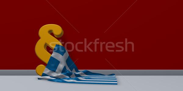 Paragraf simge Yunan bayrak 3D Stok fotoğraf © drizzd