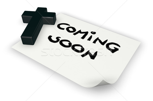 christian cross and coming soon tag on paper sheet - 3d rendering Stock photo © drizzd
