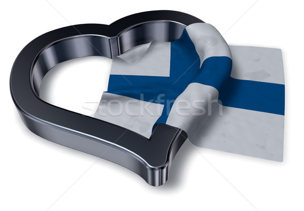 flag of finland and heart symbol - 3d rendering Stock photo © drizzd