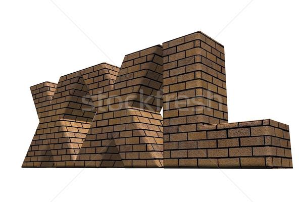 Xxl murem biały 3d ilustracji list kamienie Zdjęcia stock © drizzd