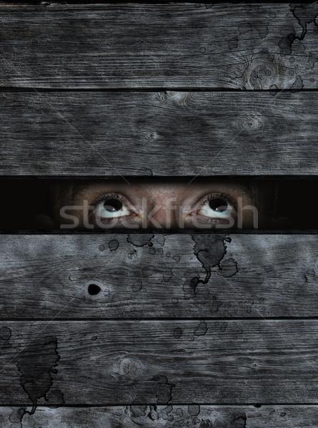 Foto d'archivio: Ansioso · occhi · dietro · vecchio · legno