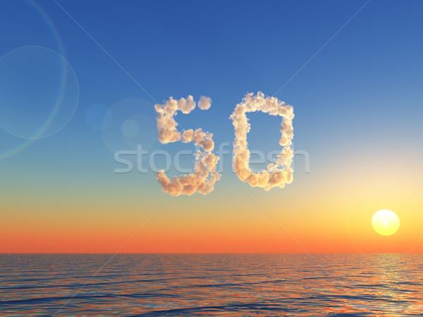 облачный пятьдесят облака форма числа 3d иллюстрации Сток-фото © drizzd