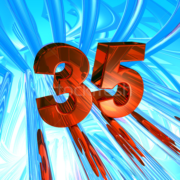 number thirty five in abstract space - 3d illustration Stock photo © drizzd