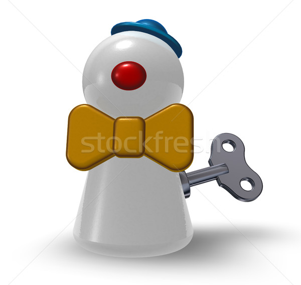 wind-up clown pawn on white background - 3d illustration Stock photo © drizzd