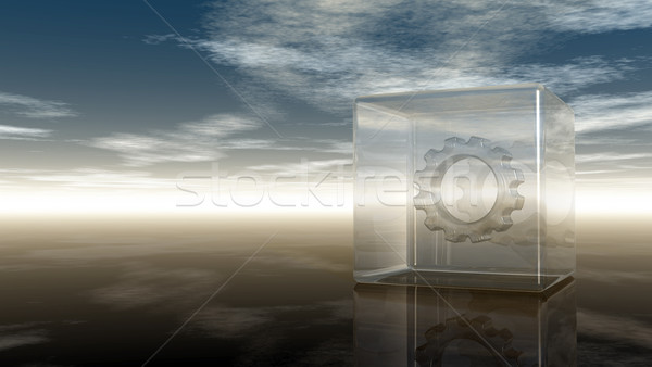 gear wheel in glass cube on reflective surface - 3d rendering Stock photo © drizzd