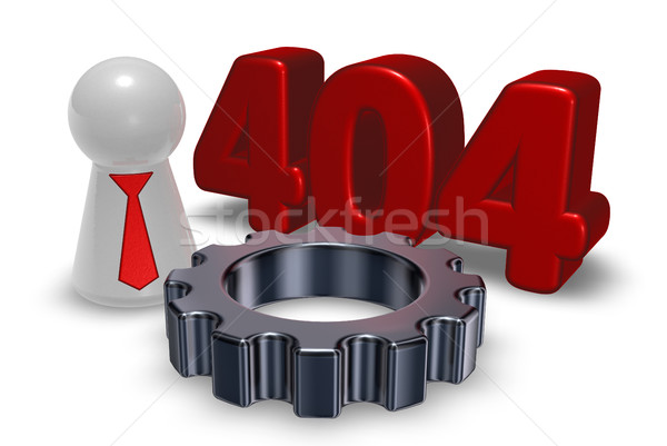 error 404 page not found - message, pawn with tie and gear wheel - 3d illustration Stock photo © drizzd