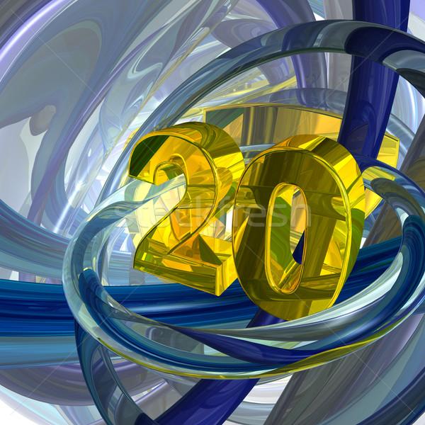 Dourado vinte número techno espaço ilustração 3d Foto stock © drizzd