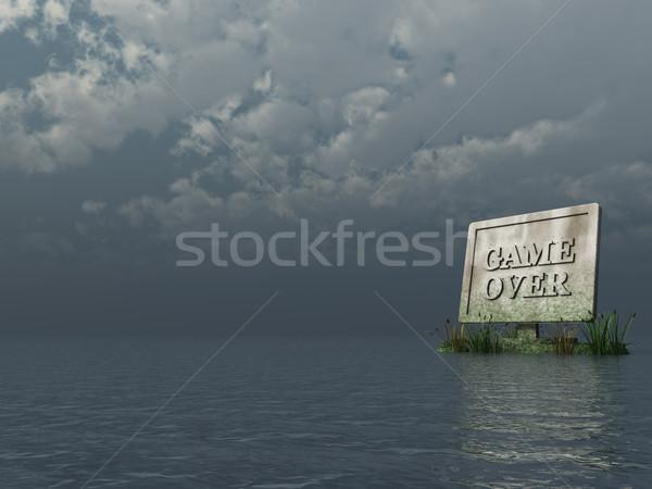Jogo pedra tft monitor texto oceano Foto stock © drizzd