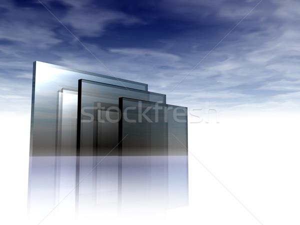 Verre résumé construction ciel bleu 3d illustration nuages Photo stock © drizzd