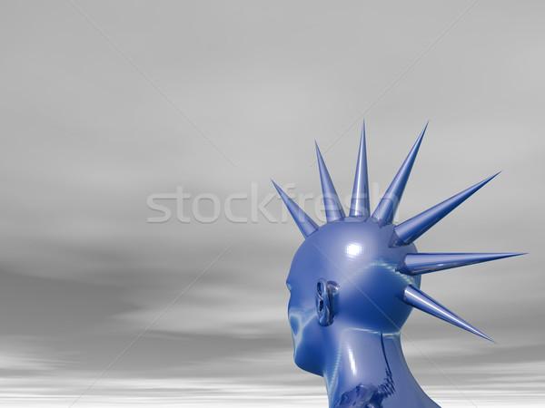青 頭 3次元の図 パンク 人間 彫刻 ストックフォト © drizzd
