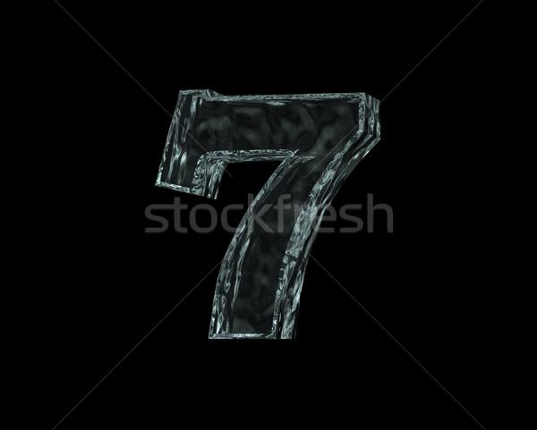 Bevroren aantal zeven zwarte 3d illustration verjaardag Stockfoto © drizzd